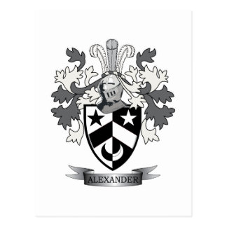 Alexander Family Crest Coat of Arms Postcard