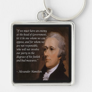 """Alexander Hamilton """"Enemy Leader"""" Gift Silver-Colored Square Keychain"""