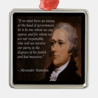 "Alexander Hamilton ""Enemy Leader"" Gift Silver-Colored Square Ornament"