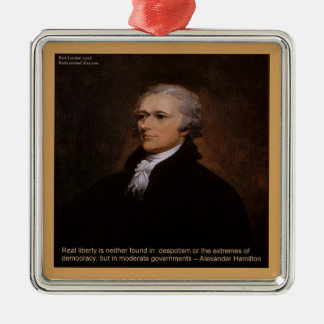 Alexander Hamilton Gifts Silver-Colored Square Ornament