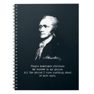 Alexander Hamilton Quote. Success, genius. Notebooks