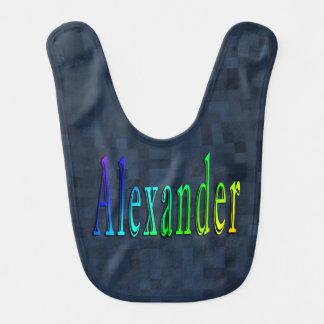 Alexander Name Logo, Blue Mosaic Tile Baby Bib