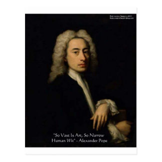 """Alexander Pope """"Art Vs Wit"""" Wisdom Quote Gifts Postcards"""