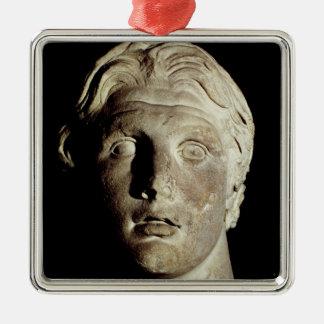 Alexander the Great , found in Pergamum Silver-Colored Square Ornament