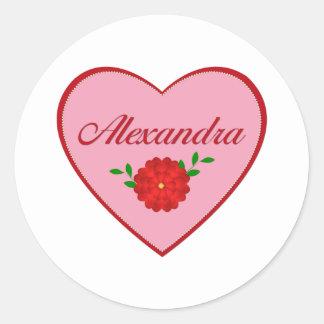 Alexandra (heart) classic round sticker