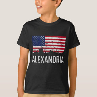 Alexandria Louisiana Skyline American Flag Distres T-Shirt