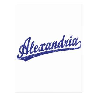 Alexandria script logo in blue postcard