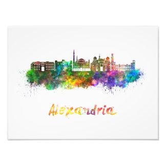Alexandria skyline in watercolor art photo