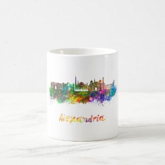 Alexandria skyline in watercolor coffee mug
