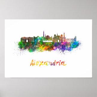 Alexandria skyline in watercolor poster