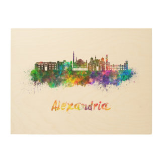 Alexandria skyline in watercolor wood canvas