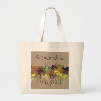 Alexandria, Viirginia Skyline - SG - Safari Buff Large Tote Bag