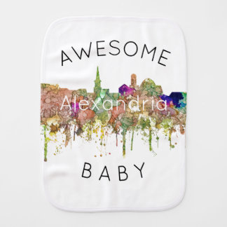Alexandria, Virginia Skyline - Baby Burp Cloth
