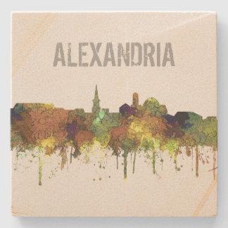 Alexandria, Virginia Skyline - SG - Safari Buf Stone Coaster