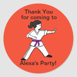 Alexa's Martial Arts Party Thank You stickers