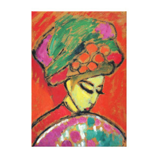 Alexei Jawlensky Young Girl with a Flowered Hat Canvas Print