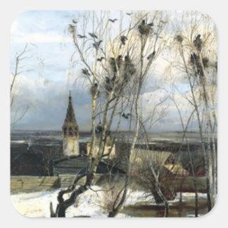 Alexei Savrasov Rooks Painting Square Sticker
