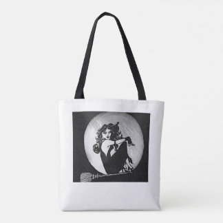 Alexis as The Witch. Kaluha the Cat. Full Moon. Tote Bag