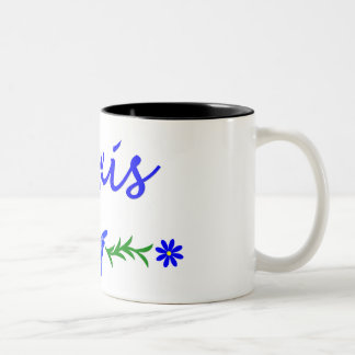 Alexis (Blue Butterfly) Two-Tone Coffee Mug