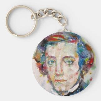 alexis de tocqueville - watercolor portrait basic round button keychain