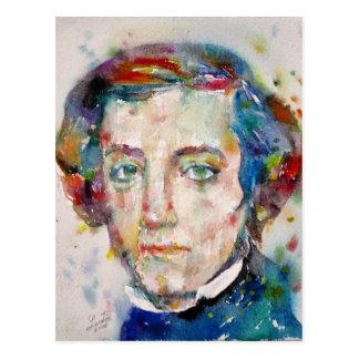 alexis de tocqueville - watercolor portrait postcard