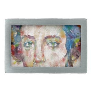 alexis de tocqueville - watercolor portrait rectangular belt buckle