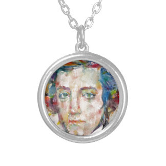 alexis de tocqueville - watercolor portrait silver plated necklace