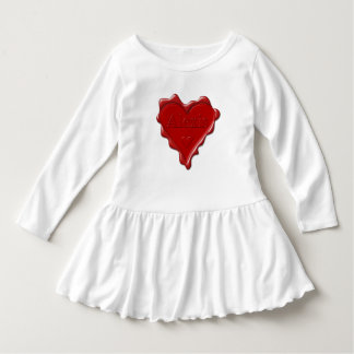 Alexis. Red heart wax seal with name Alexis Dress