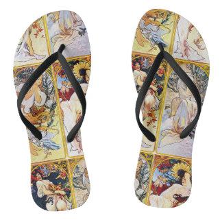 Alfons Mucha 1895 The Four Seasons Flip Flops