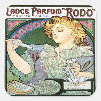 Alfons Mucha 1896 Lance Parfum Rodo Square Sticker