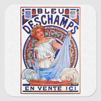 Alfons Mucha 1897 Bleu Deschamps Square Sticker