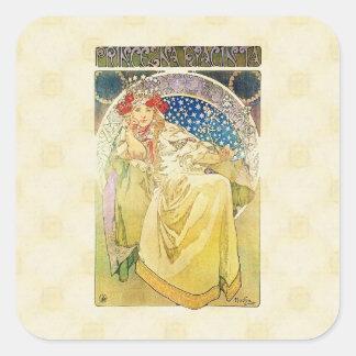 Alfons Mucha 1911 Princezna Hyacinta Square Sticker