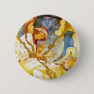 Alfons Mucha ~ Art Nouveau 2 Inch Round Button