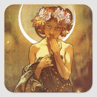 Alfons Mucha: Luna Square Sticker