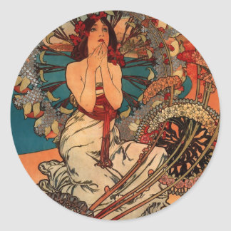 Alfons Mucha Monaco Monte Carlo Round Sticker