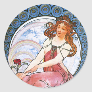 Alfons Mucha: Muse of Painting Classic Round Sticker