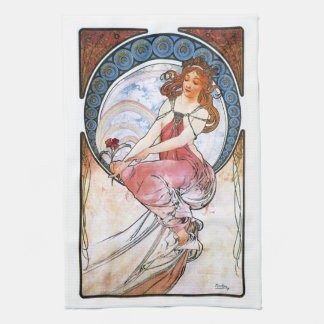 Alfons Mucha: Muse of Painting Kitchen Towel