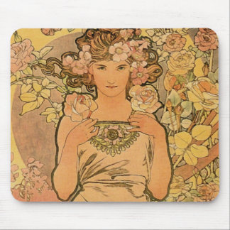 Alfons Mucha ~ The rose Mouse Pad