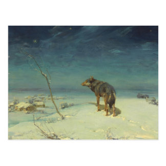 Alfred Kowalski Lone Wolf in Winter Oil Painting Postcard