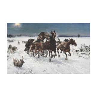 Alfred Kowalski Pursued by Wolves Canvas Print