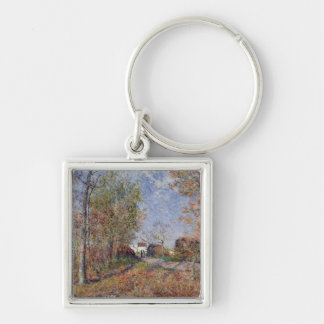 Alfred Sisley | A Corner of the Woods at Sablons Silver-Colored Square Keychain