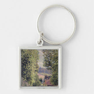 Alfred Sisley | A Road in Louveciennes Silver-Colored Square Keychain