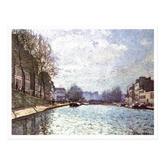 Alfred Sisley - Ansicht Kanals Saint-Martin 1870 Postcard