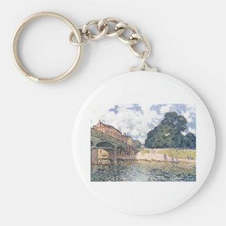 Alfred Sisley - Brücke von Hampton Court 1874 Oil Basic Round Button Keychain