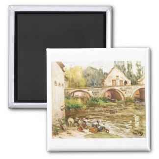 Alfred Sisley - Die Wäscherinnen von Moret 1888 Magnets