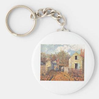 Alfred Sisley - Dorf von Voisins, Village Oil 1874 Basic Round Button Keychain