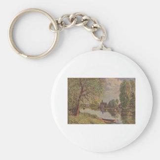 Alfred Sisley Flußlandschaft Moret-sur-Loing 1890 Basic Round Button Keychain
