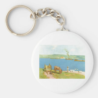 Alfred Sisley - Flussufer 1890 Geese Donkey Cart Basic Round Button Keychain