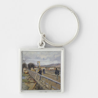 Alfred Sisley | Footbridge at Argenteuil Silver-Colored Square Keychain