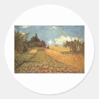 Alfred Sisley Kornfeld 1873 - Cornfield Oil Round Sticker